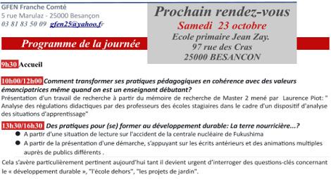 23 oct: RDV Besançon